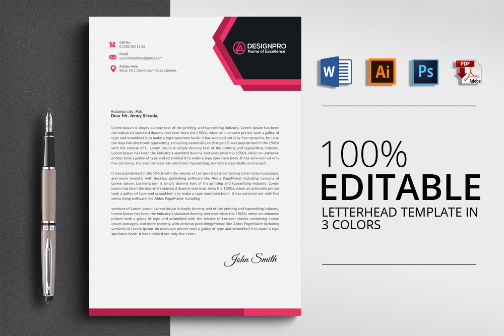 20 letterhead templates in psd ms word