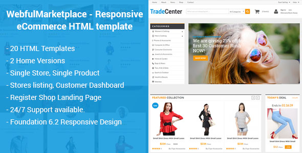 Marketplace Responsive ECommerce HTML Template - Single product ecommerce template