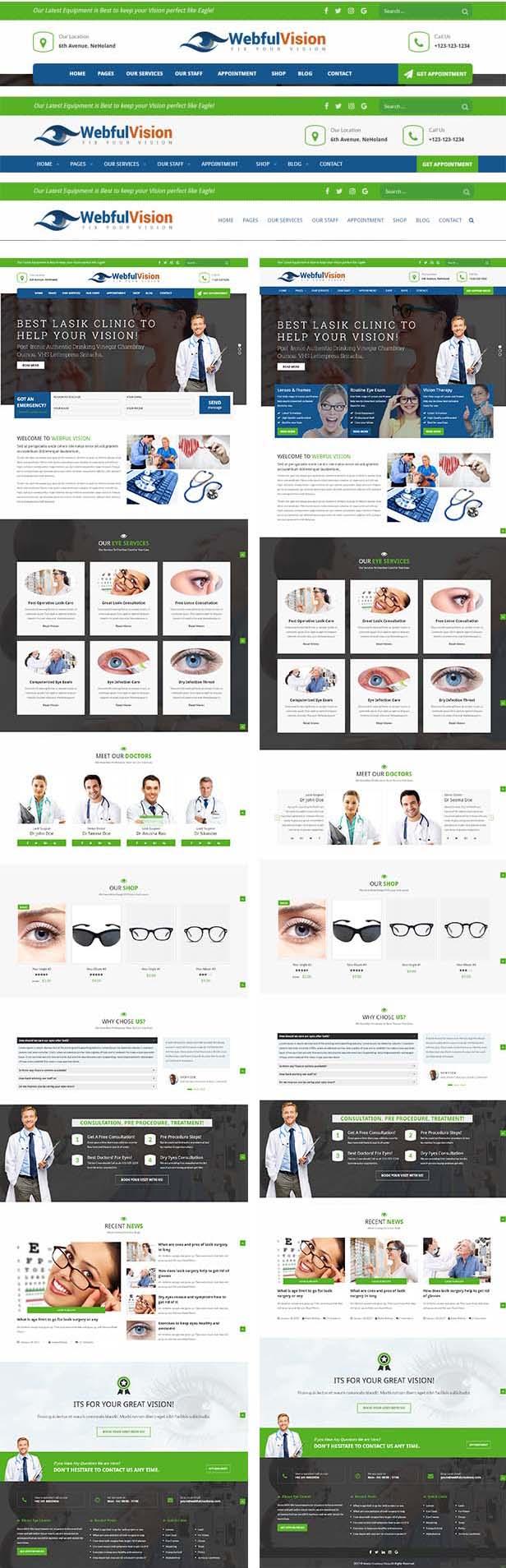 optometrist WordPress theme built in Styles