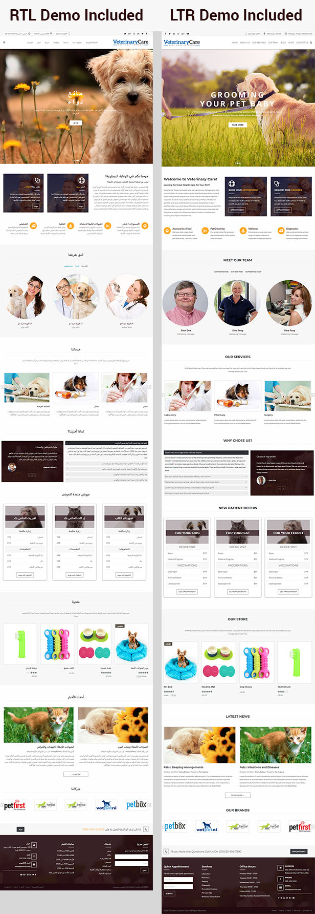 rtl veterinary WordPress Theme