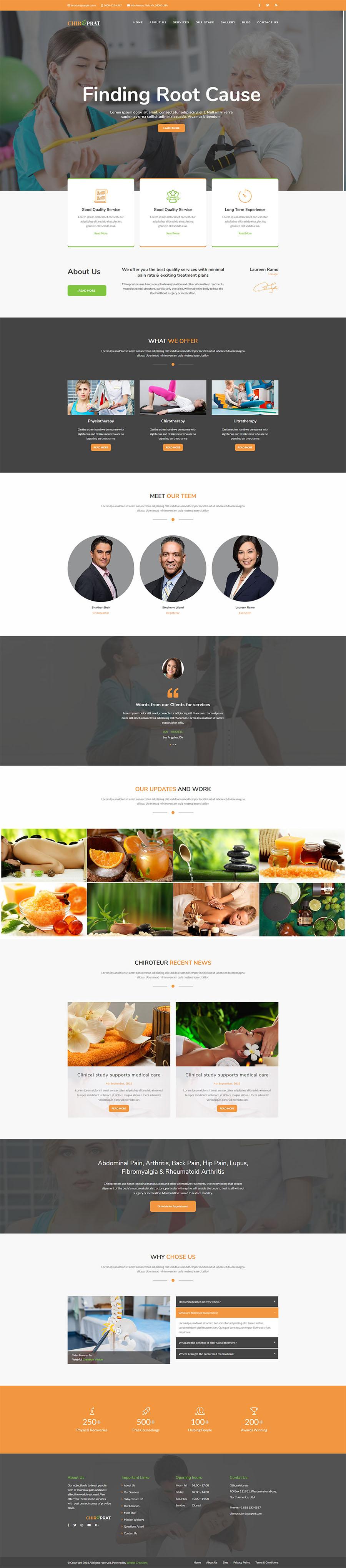 chiropractor website template