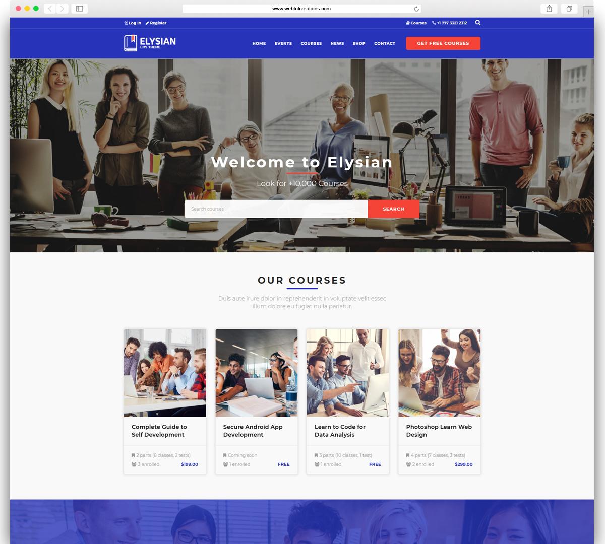 elysian Education WordPress theme
