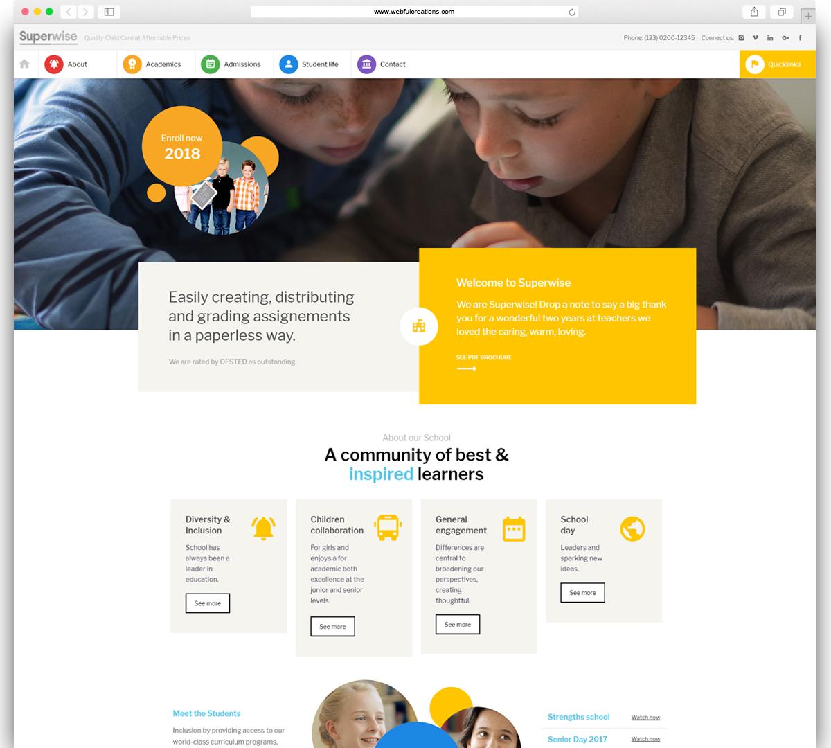 superwise education WordPress theme