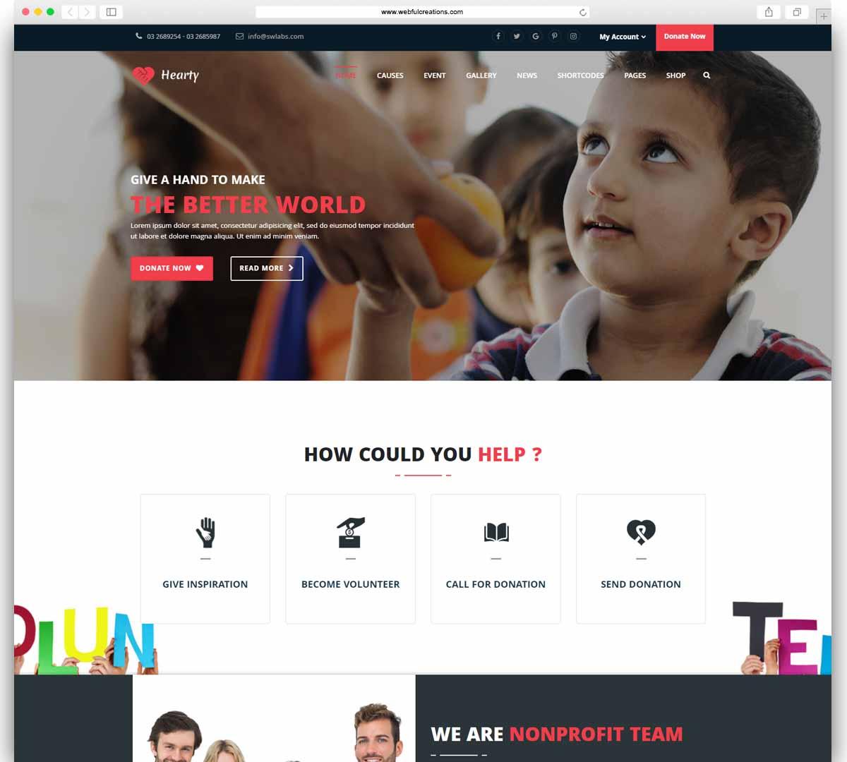 Charity WordPress - Hearty Charity WordPress Theme