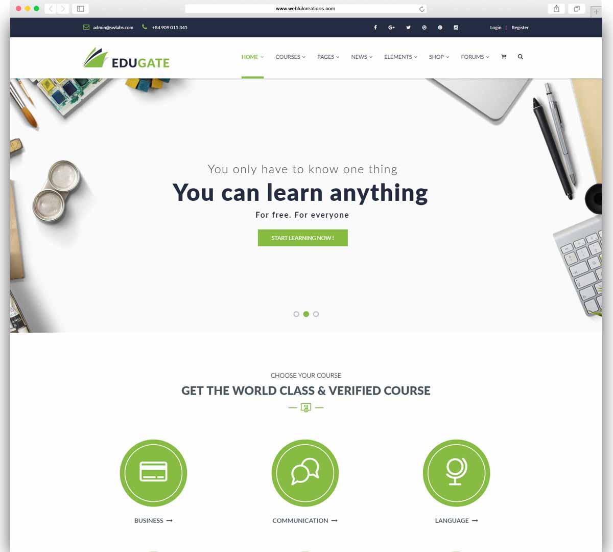 Education WordPress - Edugate Education