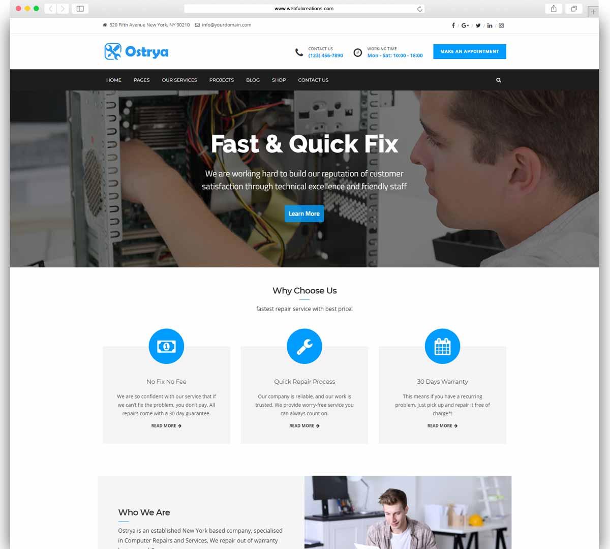 Ostrya - Computer Repair & Mobile Phone Repair Service WordPress Theme