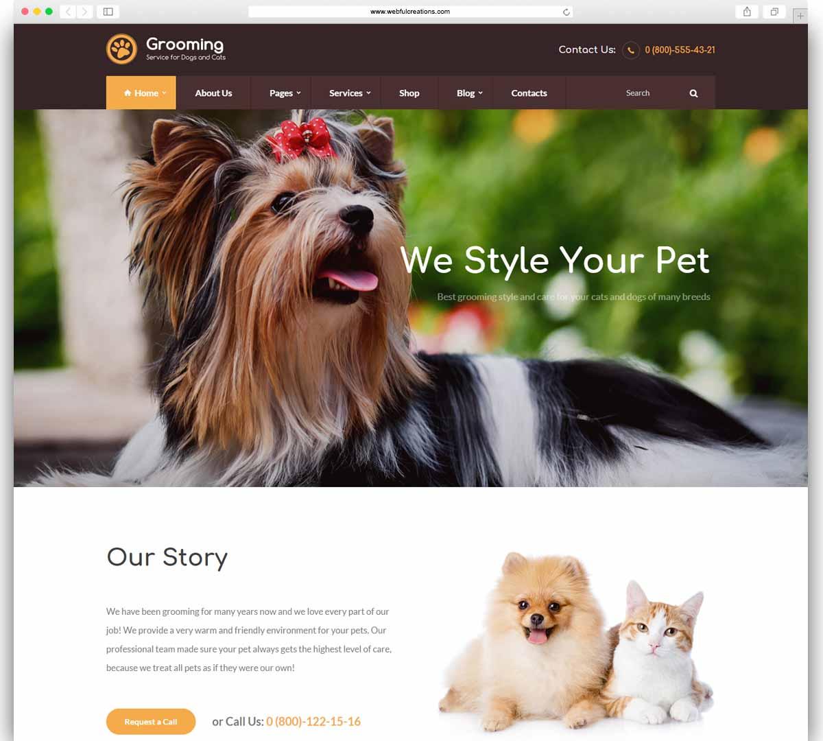 Pet Grooming veterinary WordPress theme
