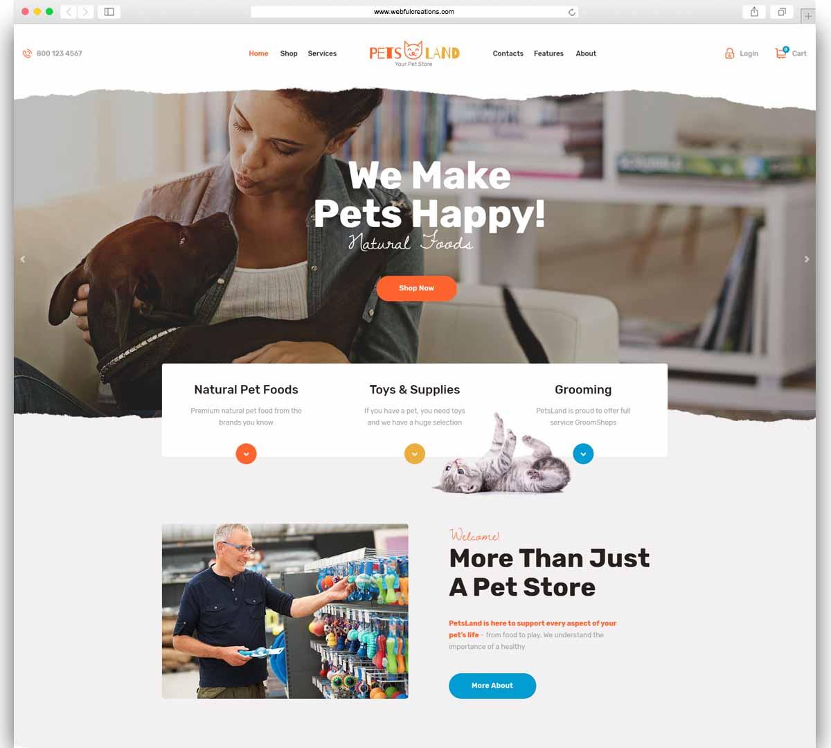 Pets Land - Pet Shop & Veterinary WordPress Theme