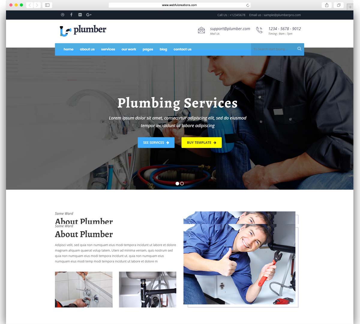 Plumber Pro - WordPress Plumber Theme