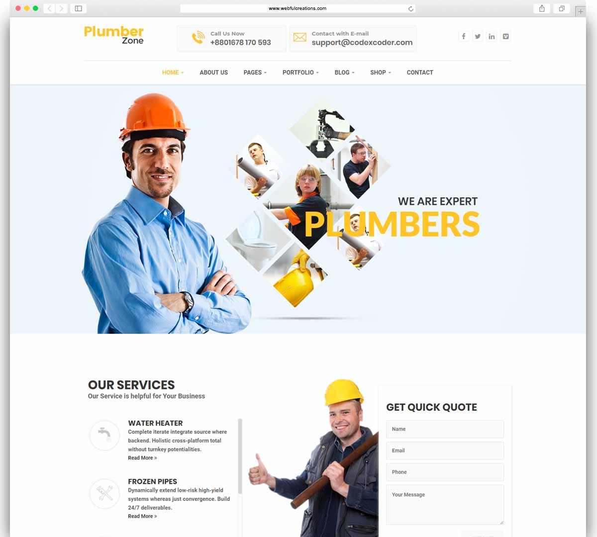 Plumber Zone - Plumbing, Repair & Construction WordPress Theme