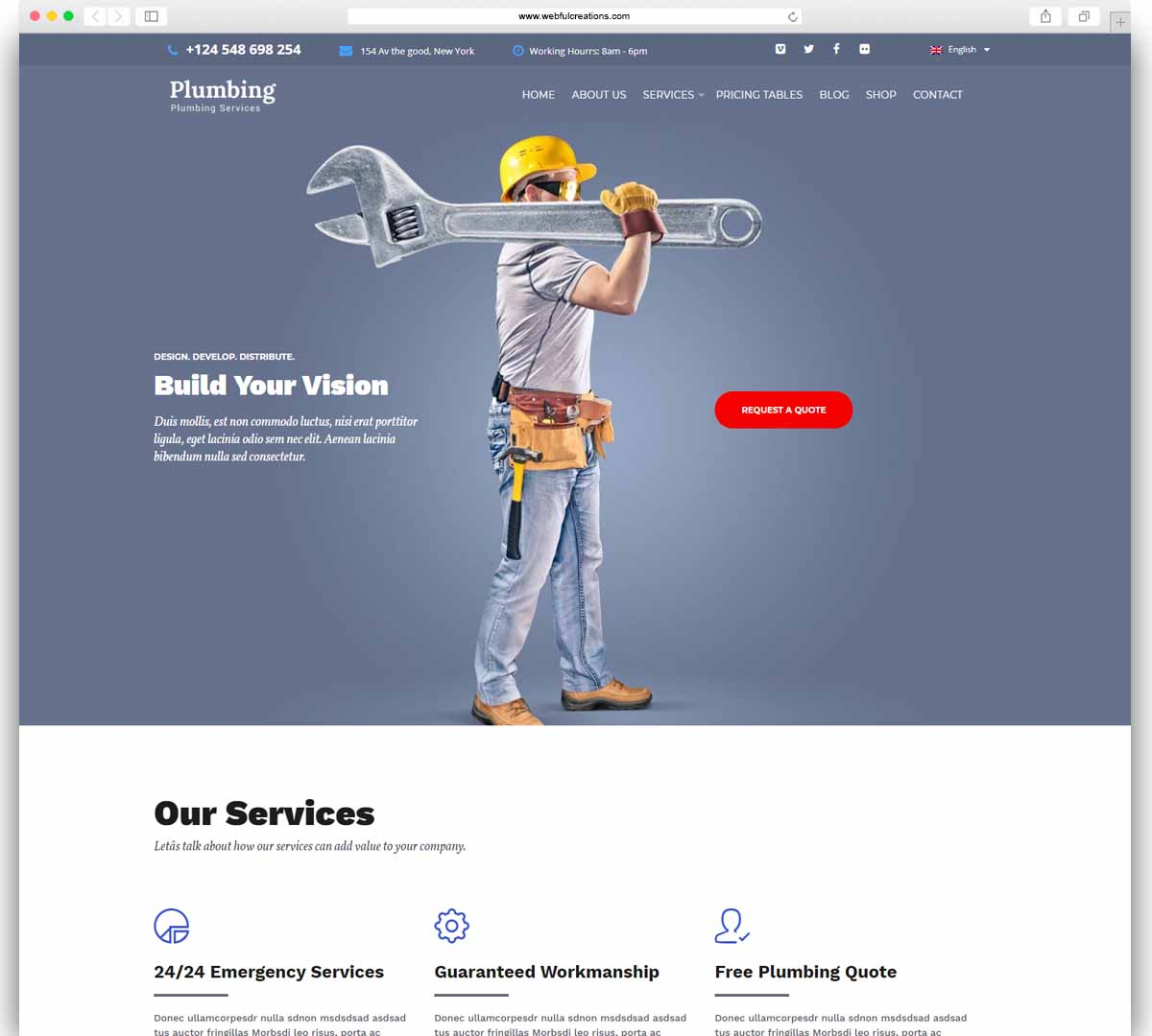 Plumbing – plumber, repair services WordPress Theme