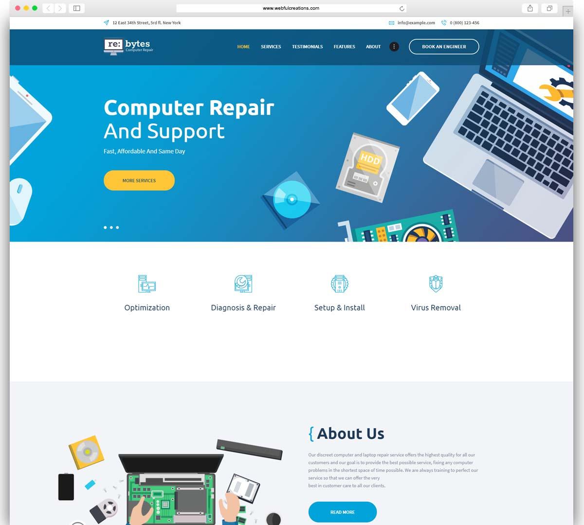 computer repair service WordPress theme