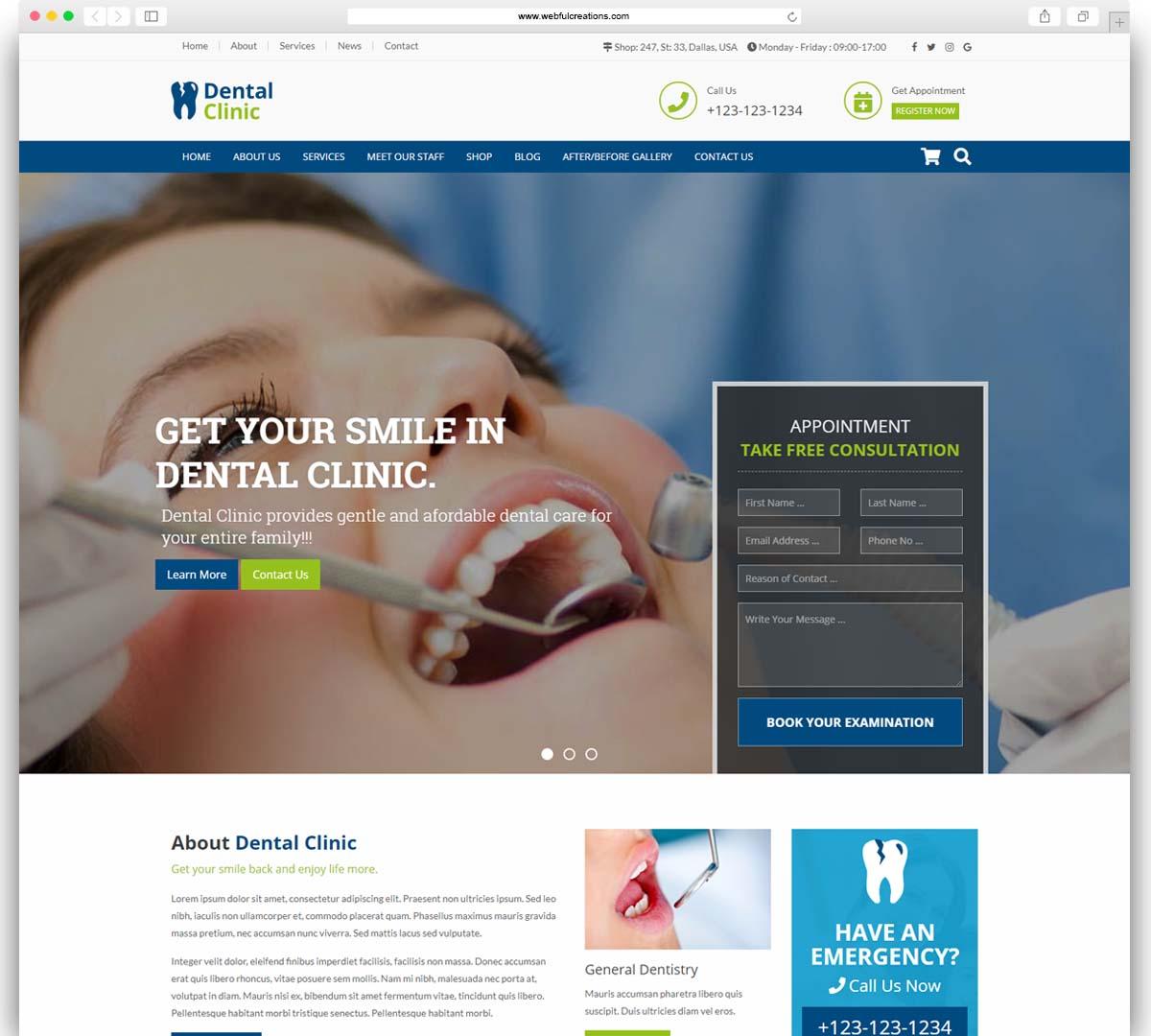 dental clinic dentist WordPress theme