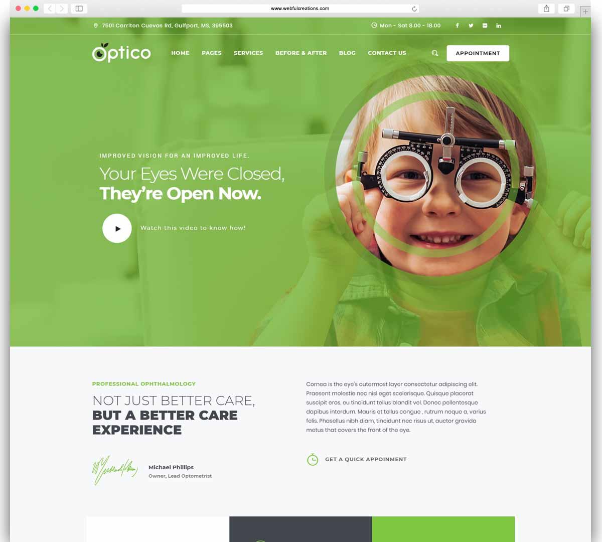 optico Optometrist & Eyecare WordPress Theme