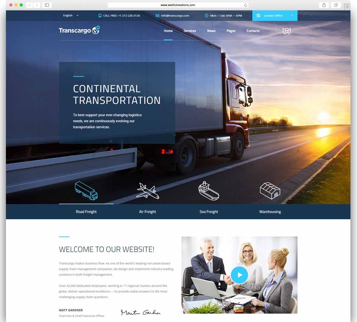 transcargo transport and logistc WordPress theme