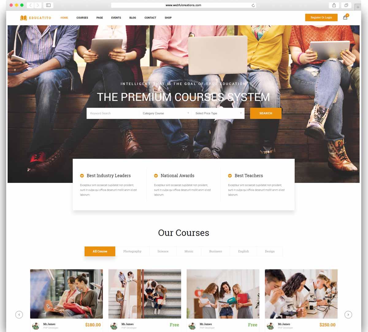 Educatito - Multiconcept Education & Courses WordPress Theme