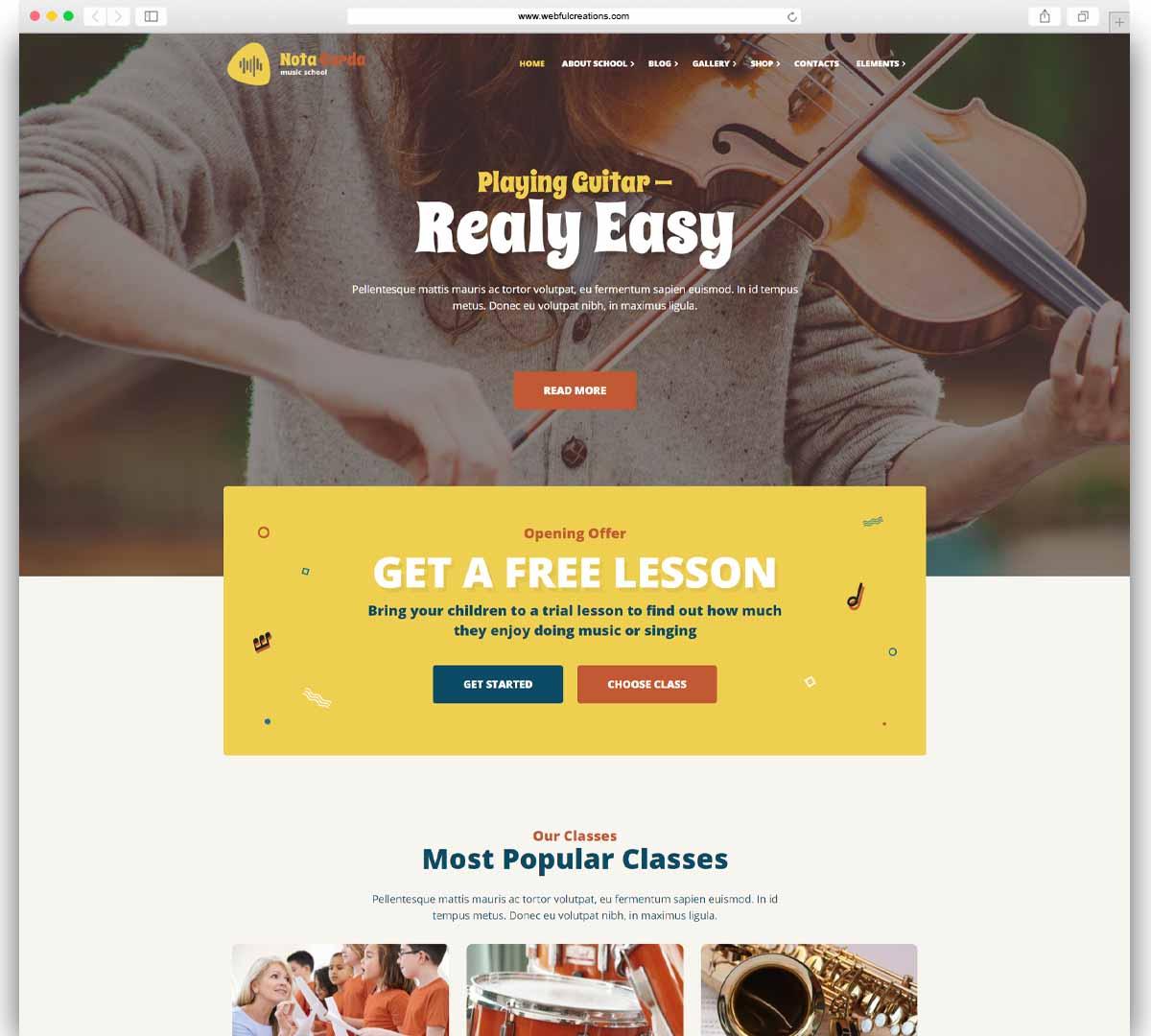 NotaCorda - Music School, Musicians WordPress theme
