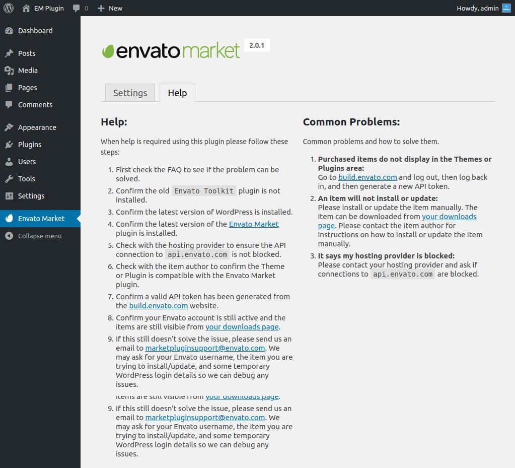 Check Envato Market Plugin Help Section