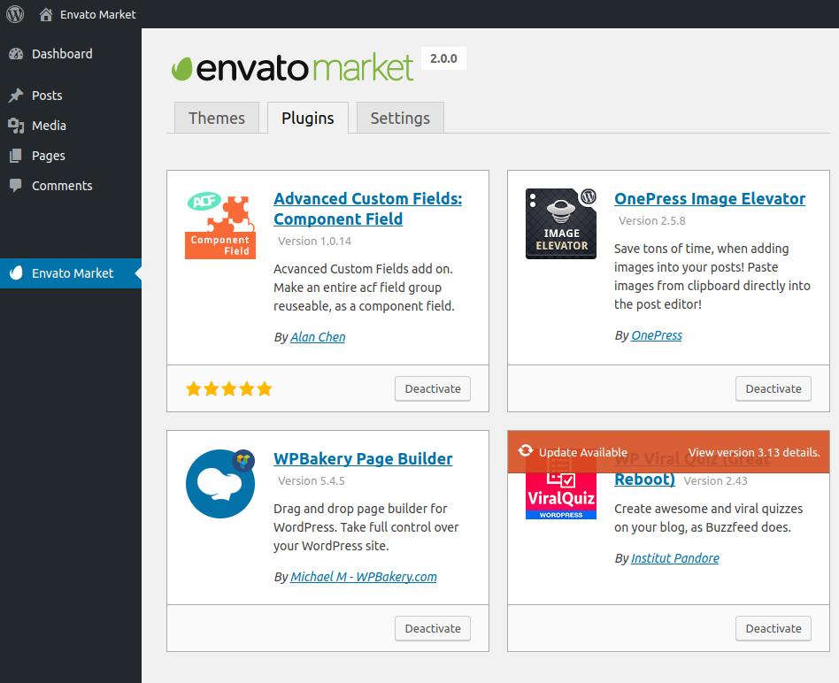 Update CodeCanyon WordPress plugins through Envato Market Plugin