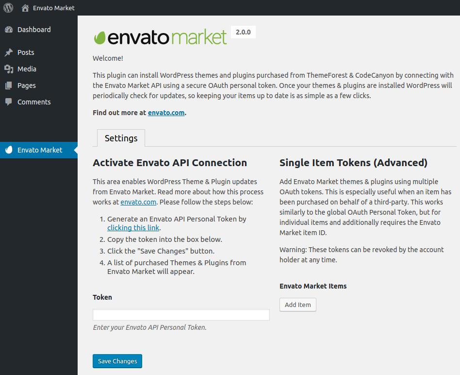 Add Envato API into your Envato Market Plugin
