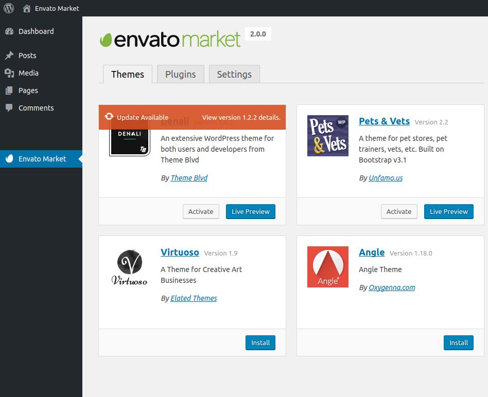Update ThemeForest WordPress Themes through Envato Market Plugin