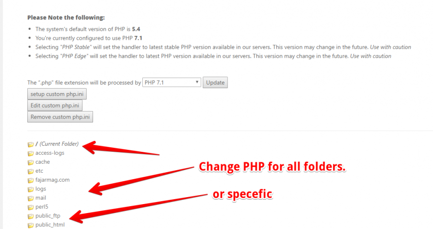 cPanel change PHP version