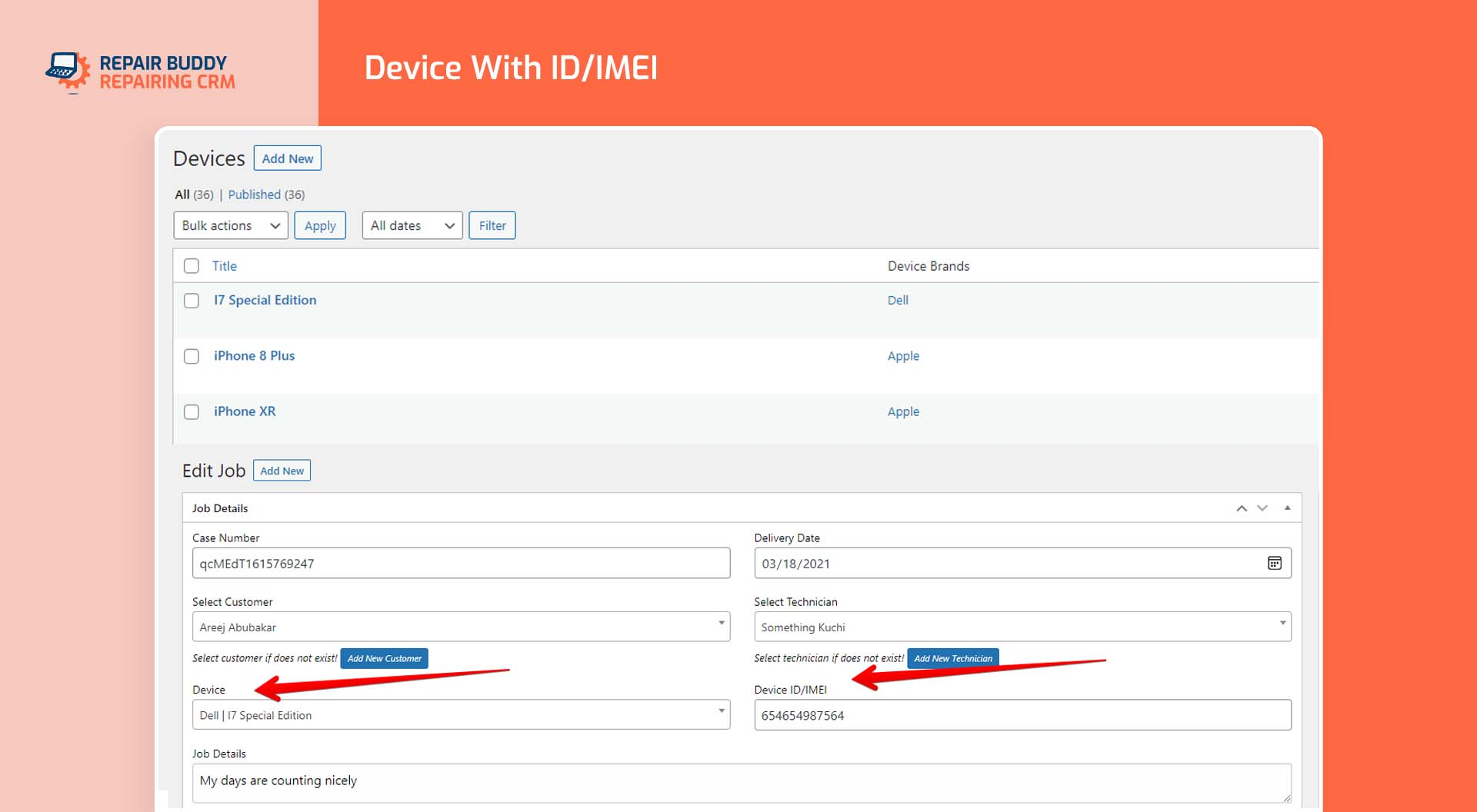 Add device and its identifier like IMEI in repairing business order