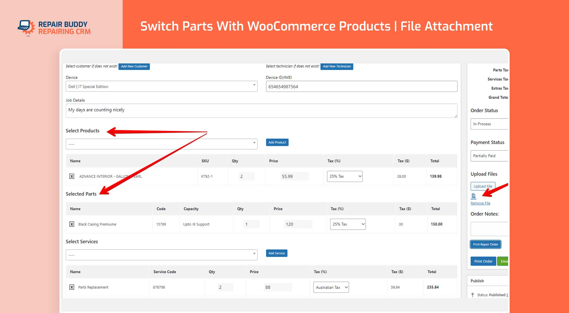 Very easy to swtich between parts and WooCommerce products