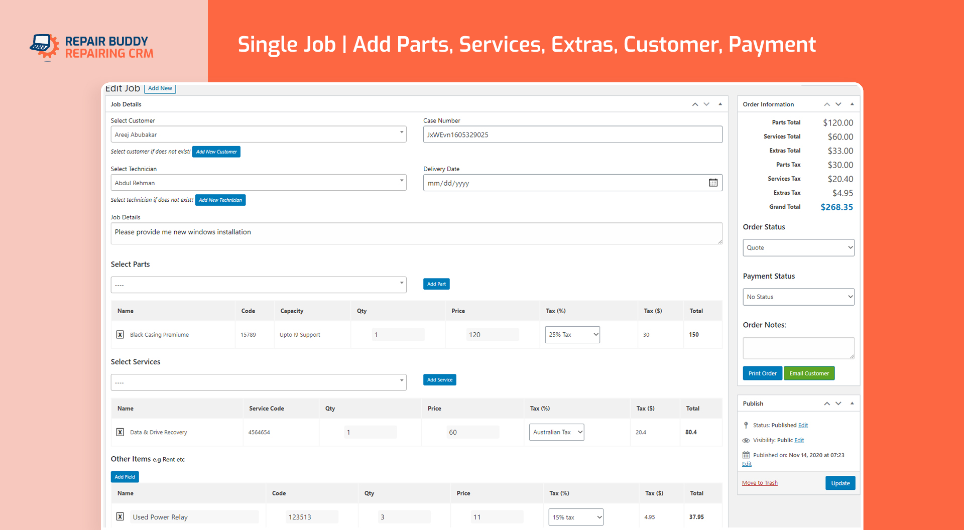 Create Job | CRM WordPress Plugin