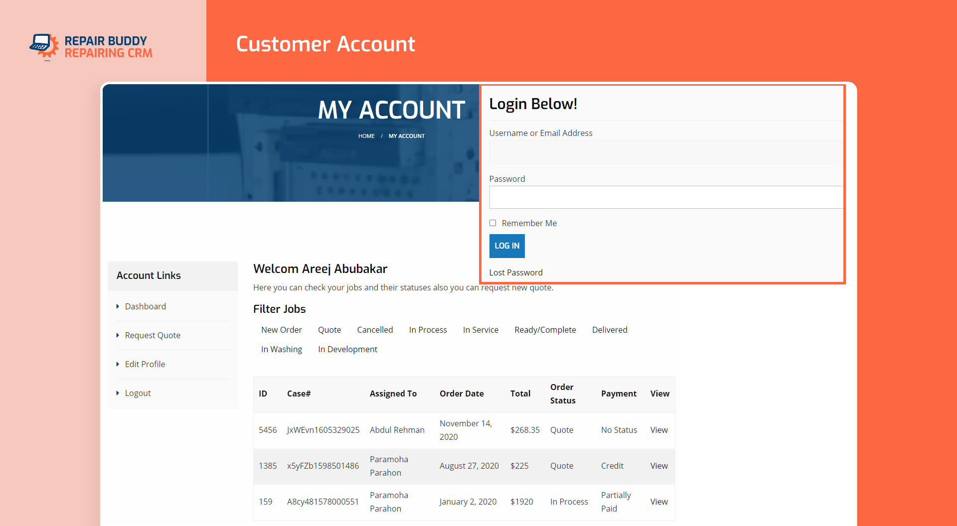 My Account | CRM WordPress Plugin