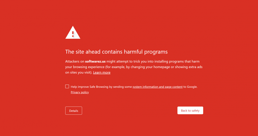 The site ahead contains malware program