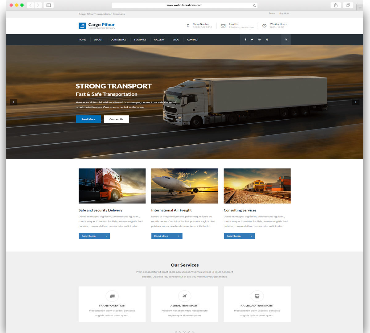 Pifour - Logistic and Transportation WordPress Theme