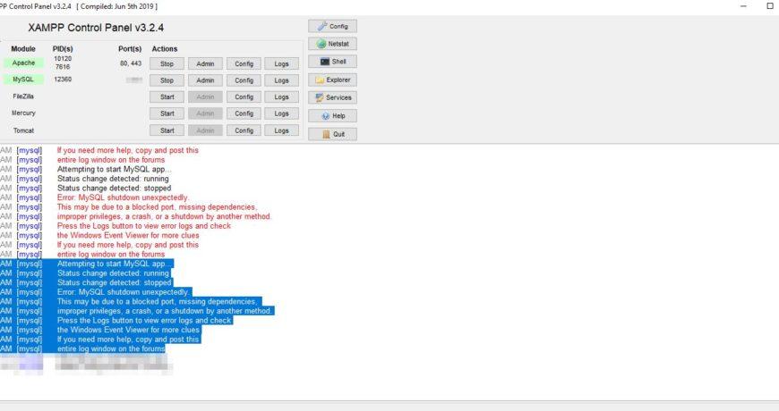 Error MySQL shutdown unexpectedly in XAMPP