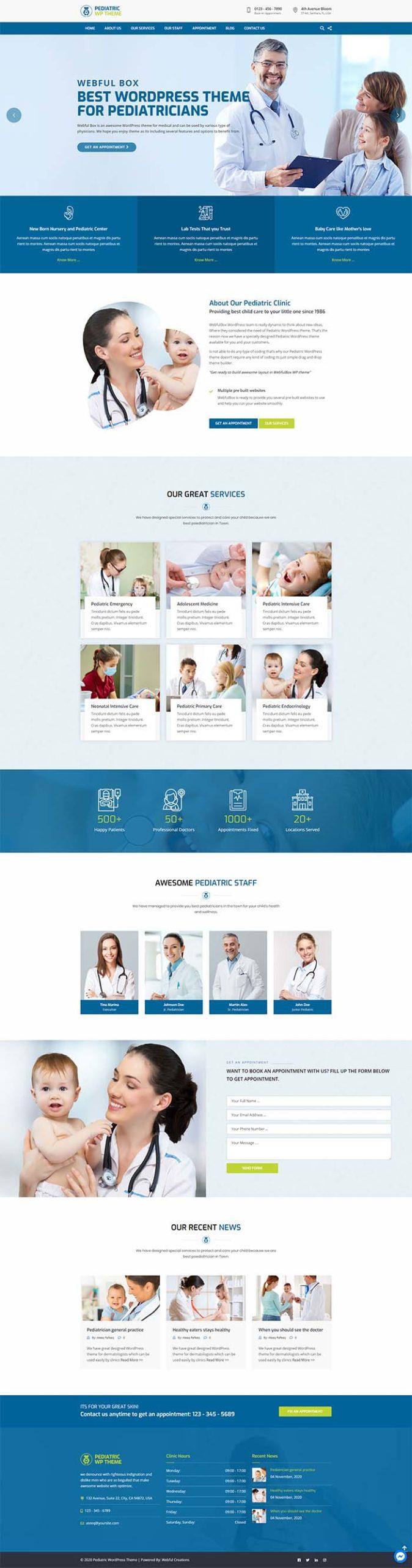 Pediatric WordPress theme - Design