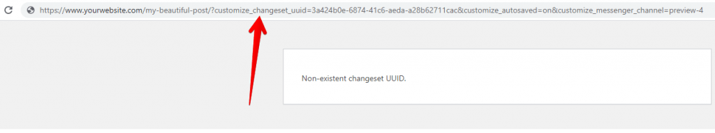 Your URL includes changeset UUID query string